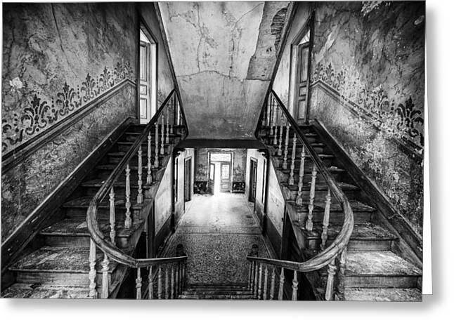 Stair Case Greeting Cards - Lost glory staircase - abandoned castle Greeting Card by Dirk Ercken