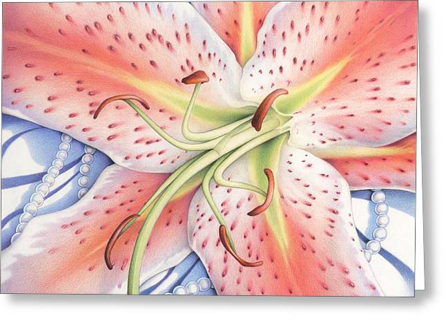 Pearls Drawings Greeting Cards - Lost In A Moment Greeting Card by Amy S Turner