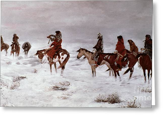 Native American Woman Greeting Cards - Lost in a Snow Storm - We Are Friends Greeting Card by Charles Marion Russell