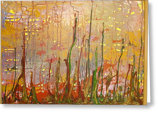 Geometric Artwork Greeting Cards - Lost In Forest On A Sunny Day    Sold Greeting Card by Pradeep Gupta