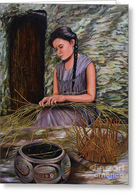 Basket Maker Greeting Cards - Lost in Her Work  Greeting Card by Mary Whitefeather