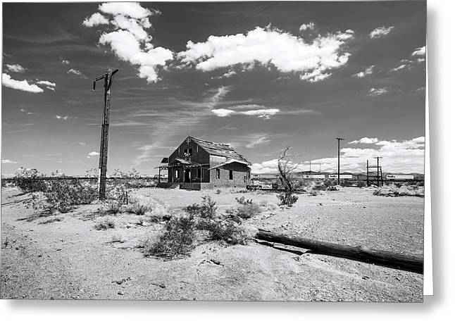 Lost Memories Of Route 66 Bw Greeting Card by Denise Dube