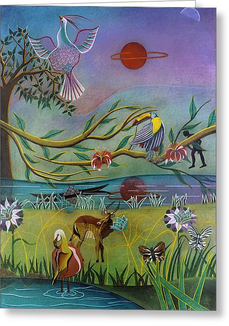 Fantasy Tree Pastels Greeting Cards - Lost Paradise Greeting Card by Sally Appleby