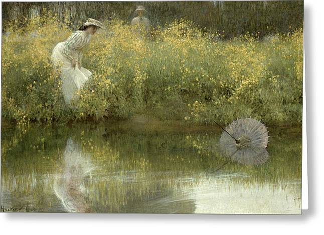Reflection In Water Greeting Cards - Lost Parasol Greeting Card by Arthur Hacker