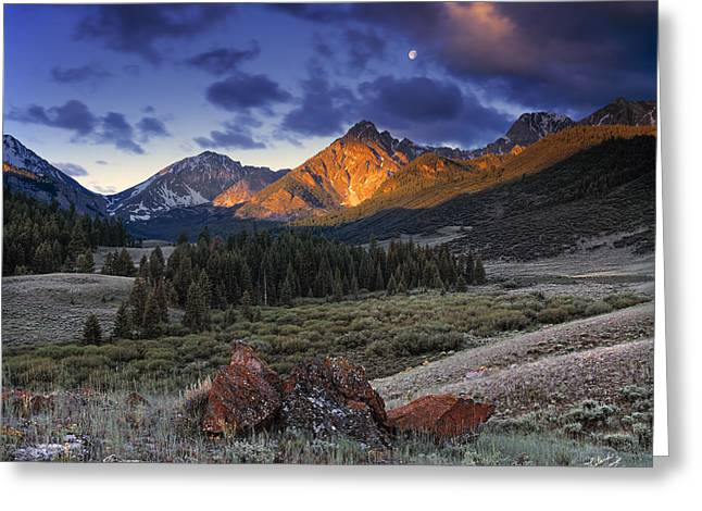 Serene Greeting Cards - Lost River Mountains Moon Greeting Card by Leland D Howard