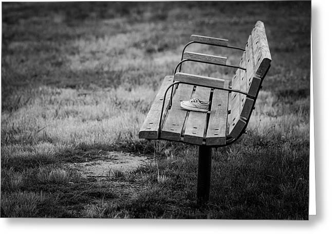 Book Cover Art Greeting Cards - Lost Soles Bench Minimalist Greeting Card by Terry DeLuco