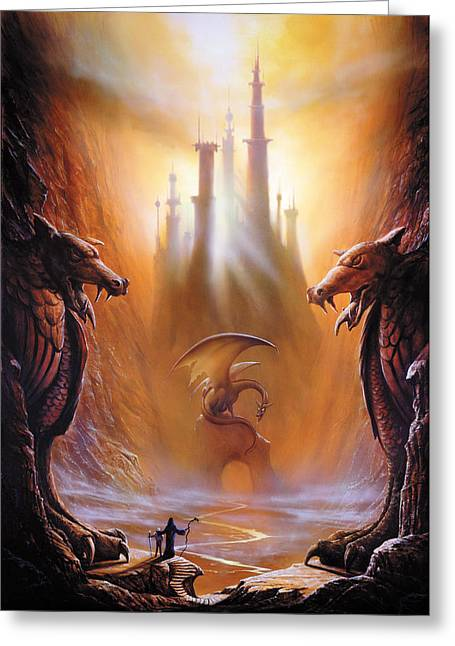 Dragon Greeting Cards - Lost Valley Greeting Card by The Dragon Chronicles - Garry Wa