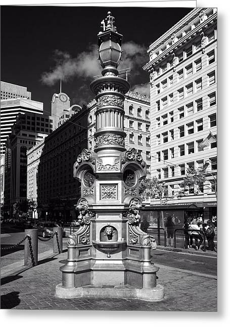 White Photographs Greeting Cards - Lottas Fountain - San Francisco Greeting Card by Mountain Dreams