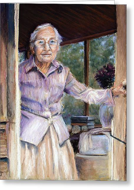 Christian Pastels Greeting Cards - Lottie the Faithful Servant Greeting Card by Susan Jenkins