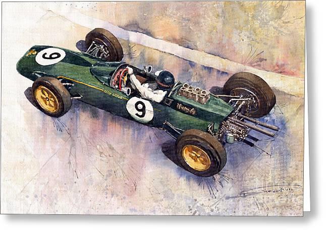 Watercolour Paintings Greeting Cards - Lotus 25 F1 Jim Clark Monaco GP 1963 Greeting Card by Yuriy  Shevchuk