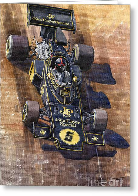Canadian Paintings Greeting Cards - Lotus 72 Canadian GP 1972 Emerson Fittipaldi  Greeting Card by Yuriy  Shevchuk