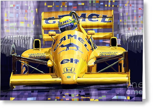 Classic Mixed Media Greeting Cards - Lotus 99T SPA 1987 Ayrton Senna Greeting Card by Yuriy  Shevchuk