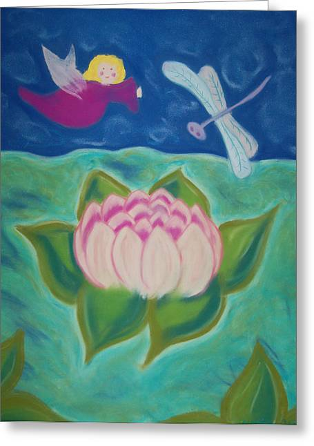 Dragonflies Pastels Greeting Cards - Lotus and Dragonfly Greeting Card by Christine Crosby