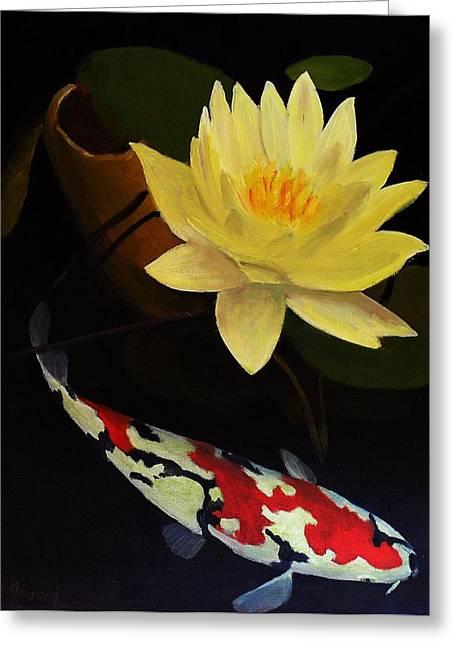 Lotus And Koi- Plant And Animal Painting Greeting Card by Glenn Ledford