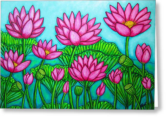 Lilly Pads Greeting Cards - Lotus Bliss II Greeting Card by Lisa  Lorenz