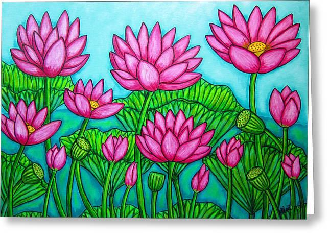 Lotus Bliss II Greeting Card by Lisa  Lorenz