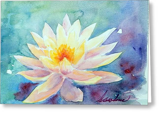 Lotus Awakens Greeting Card by Caroline Patrick