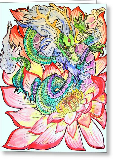 Jenn Cunningham Greeting Cards - Lotus Dragon Greeting Card by Jenn Cunningham
