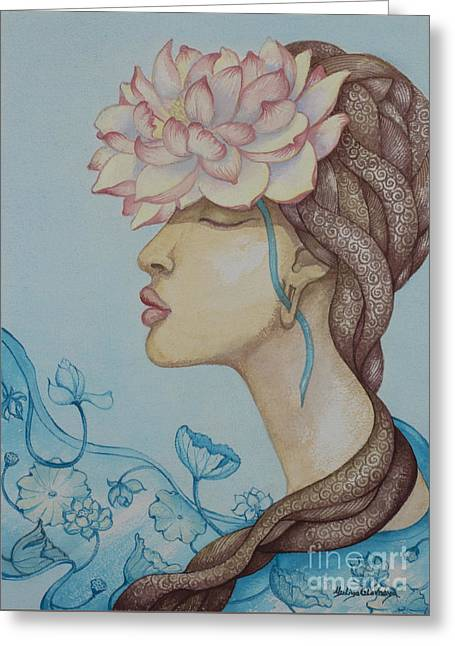 Lotus Dream Greeting Card by Yuliya Glavnaya
