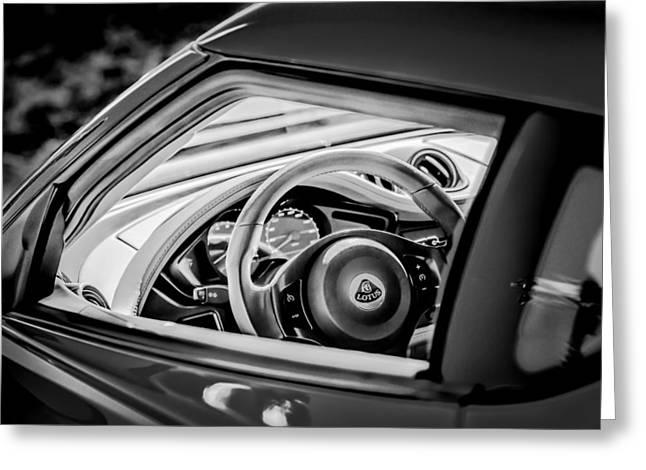 White Lotus Greeting Cards - Lotus Evora S Steering Wheel -1858bw Greeting Card by Jill Reger