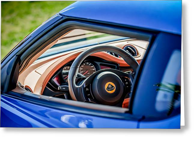 Famous Photographers Greeting Cards - Lotus Evora S Steering Wheel -1858c Greeting Card by Jill Reger