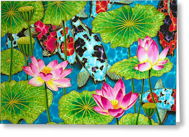 Water Garden Tapestries - Textiles Greeting Cards - Lotus  Flower  and  Koi Fish Greeting Card by Daniel Jean-Baptiste