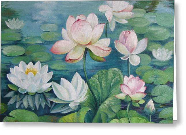 Lotus Lily Greeting Cards - Lotus flowers Greeting Card by Elena Oleniuc