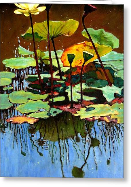 Best Sellers -  - Pond In Park Greeting Cards - Lotus In July Greeting Card by John Lautermilch