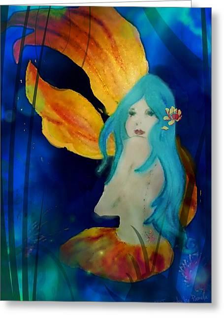 Lotus Mermaid  Greeting Card by ARTography by Pamela Smale Williams