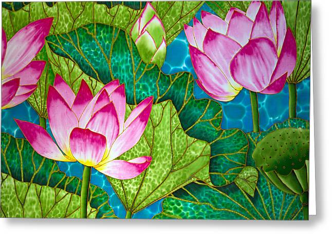 Botanical Tapestries - Textiles Greeting Cards - Lotus Pond Greeting Card by Daniel Jean-Baptiste