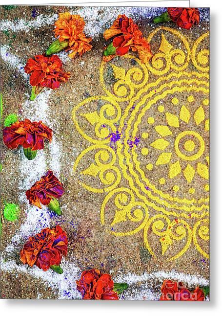Lotus Rangoli Greeting Card by Tim Gainey
