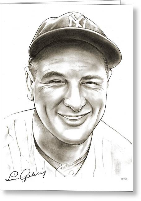 Lou Gehrig Greeting Card by Greg Joens