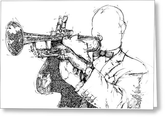 Louis Armstrong Ink Portrait Greeting Card by Pablo Franchi