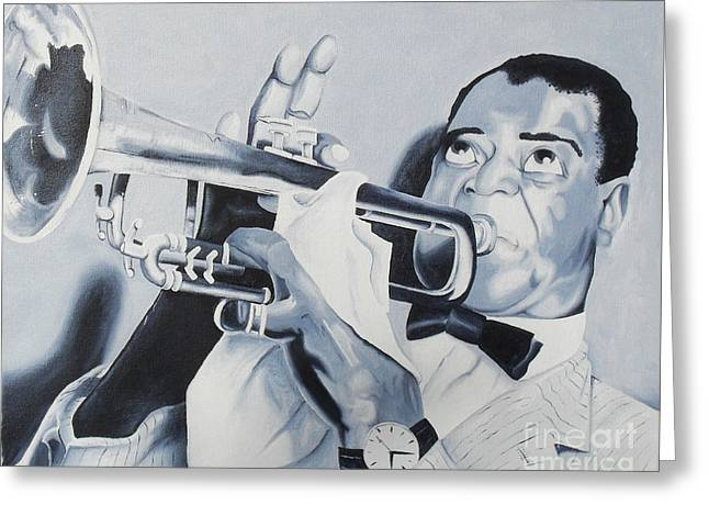 Louis Armstrong Greeting Card by Joseph Palotas