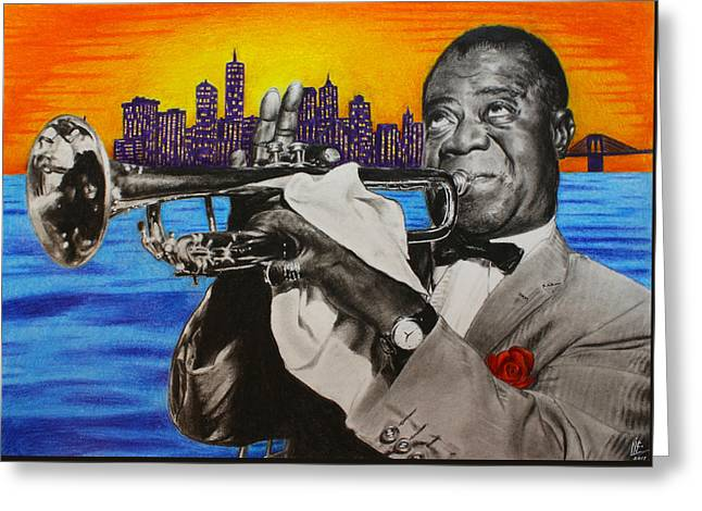 Times Square Pastels Greeting Cards - Louis Armstrong Portrait Greeting Card by Nikolai Jonasson