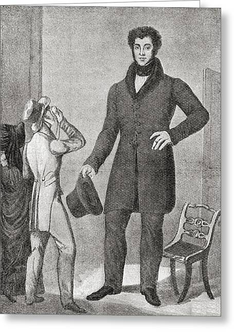 Height Drawings Greeting Cards - Louis Frenz, Born 1801-  . French Greeting Card by Vintage Design Pics