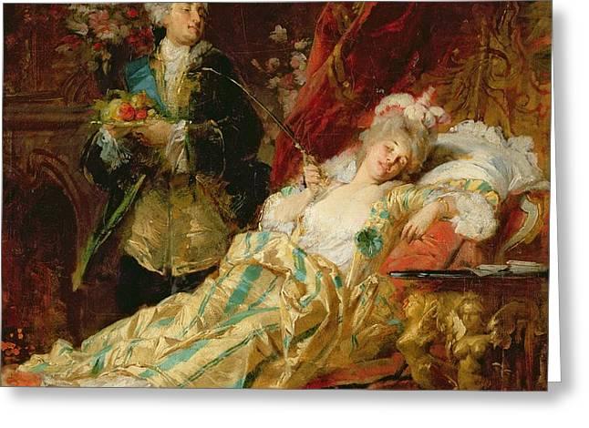 Louis XV and Madame Dubarry Greeting Card by  Gyula Benczur