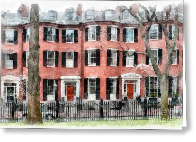 Townhouses Greeting Cards - Louisburg Square Beacon Hill Boston Greeting Card by Edward Fielding
