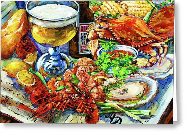 Crawfish Beer Greeting Cards - Louisiana 4 Seasons Greeting Card by Dianne Parks