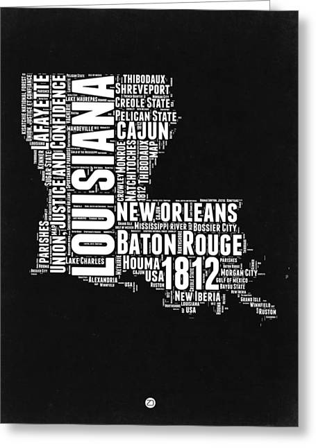 Cajun Greeting Cards - Louisiana Black and White Word Cloud map Greeting Card by Naxart Studio