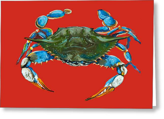 Crab Greeting Cards - Louisiana Blue on Red Greeting Card by Dianne Parks