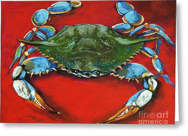Crabs Greeting Cards - Louisiana Blue on Red Greeting Card by Dianne Parks