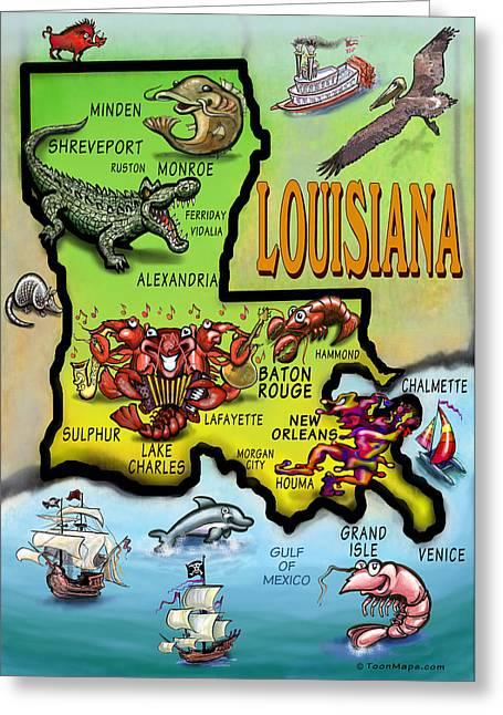Louisiana Cartoon Map Greeting Card by Kevin Middleton