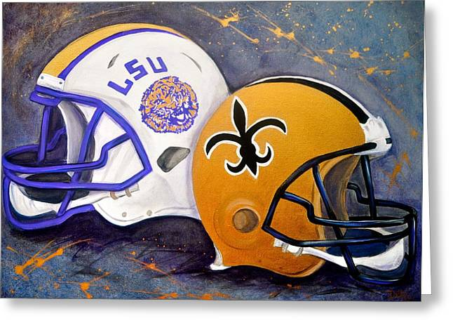 Louisiana State University Greeting Cards - Louisiana Fan Greeting Card by Debi Starr
