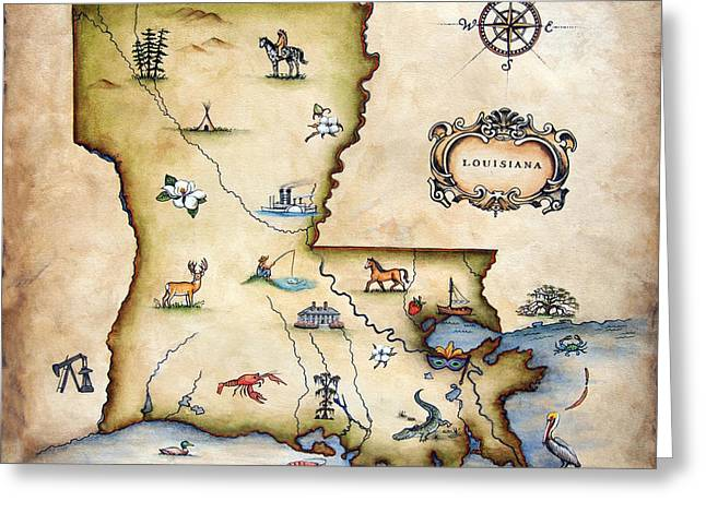 Louisiana Map Greeting Card by Judy Merrell