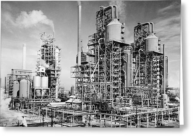 1944 Greeting Cards - Louisiana: Oil Refinery Greeting Card by Granger