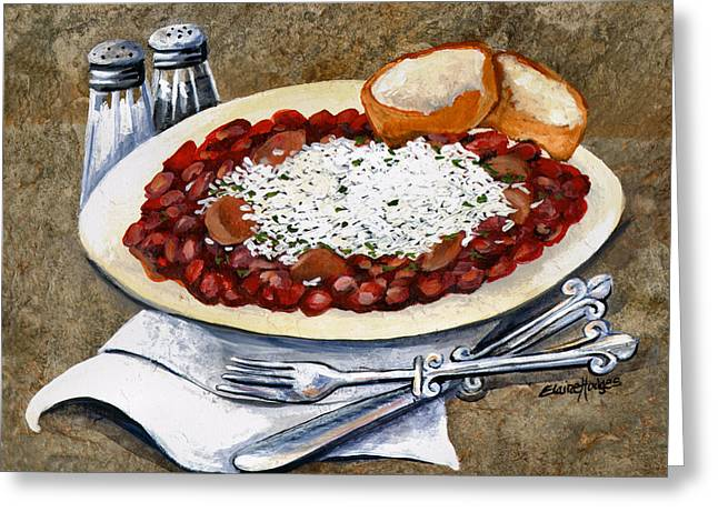 Cajun Greeting Cards - Louisiana Red Beans and Rice Greeting Card by Elaine Hodges
