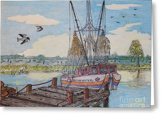 Dock Pastels Greeting Cards - Louisiana Shrimper Greeting Card by Ronald Gater