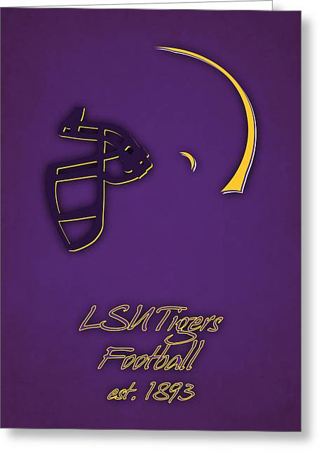 Louisiana State University Greeting Cards - Louisiana State Tigers Helmet Greeting Card by Joe Hamilton