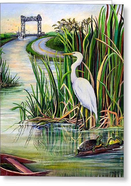 Egret Greeting Cards - Louisiana Wetlands Greeting Card by Elaine Hodges